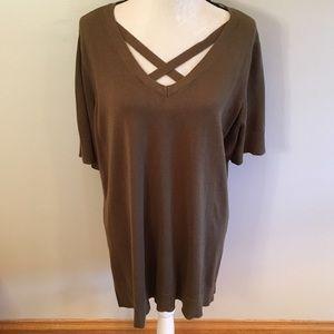NWOT Isaac Mizrahi olive sweater top size 2x
